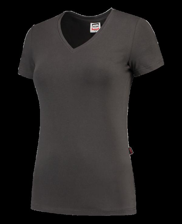 TVT190 - Darkgrey - T-shirt V hals Fitted Dames - 101008 01