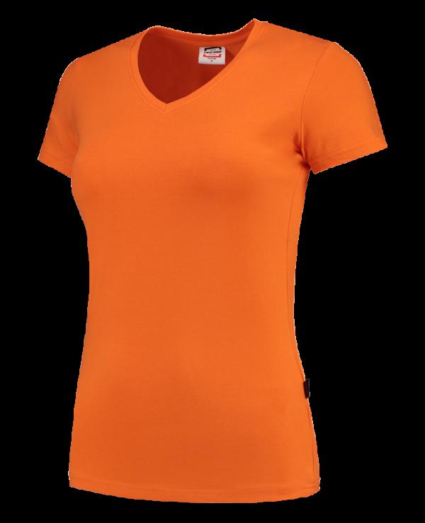 TVT190 - Orange - T-shirt V hals Fitted Dames - 101008 01