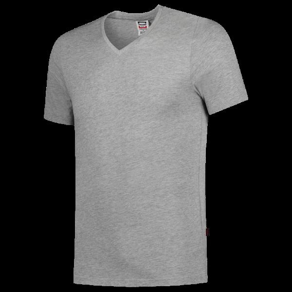 TFV160 - Grey melange - T-shirt V hals Fitted - 101005 01
