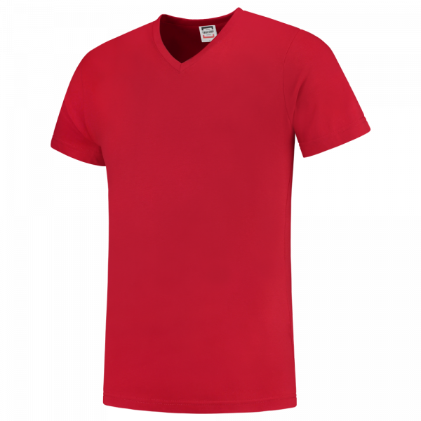 TFV160 - Red - T-shirt V hals Fitted - 101005 01